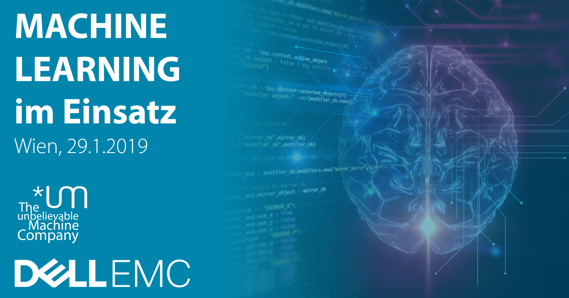 Unbelievable Machine & Dell EMC present Machine Learning in Action // January 29, Vienna